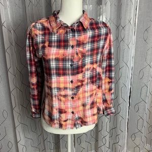 Repurposed Route 66 Flannel Bleach Dyed Large
